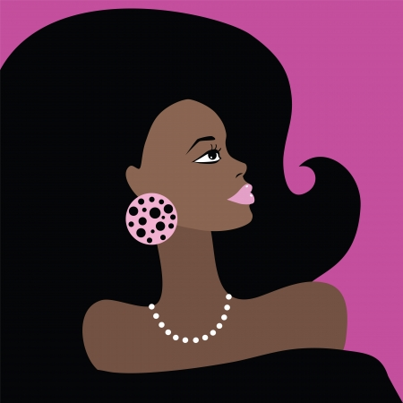 african american woman: African American Beautiful Woman  Portrait  Vector illustration