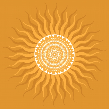 sun illustration: Mandala  Sun  Indian decorative pattern
