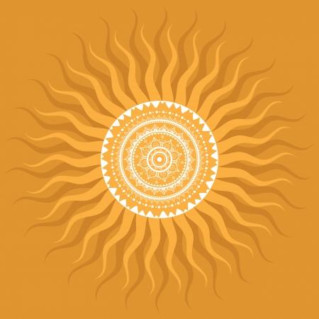 illustrazione sole: Mandala Sun indiano motivo decorativo