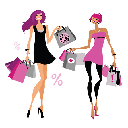 happy shopper: Women with shopping bags  Vector illustration  Isolated Illustration