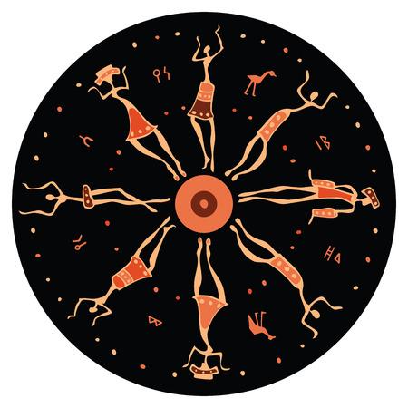 danza africana: Figuras del africano Ilustración bailarines Vector