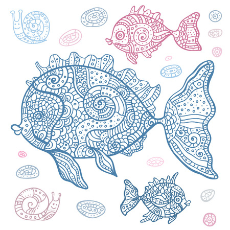 Sea set of fish and snails  Hand drawn vector illustration  Vector