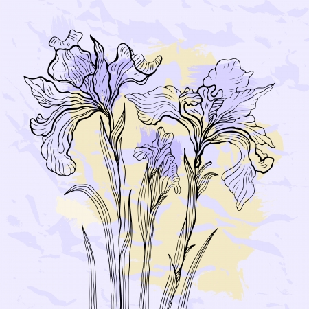 Floral background. Hand drawn flowers. Vector illustration. Vector