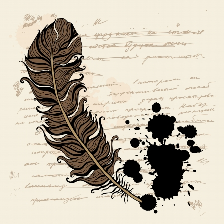 Vintage hand drawn background.  Feather vector text.