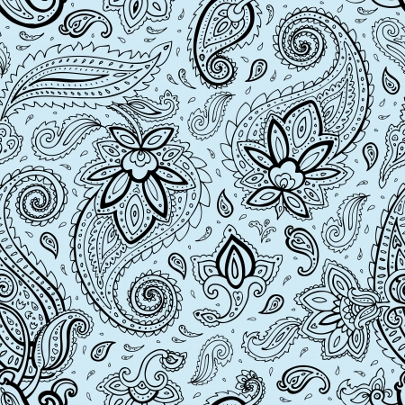 Seamless Paisley background. Elegant Hand Drawn vector pattern.