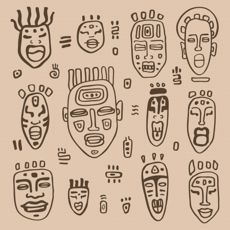 Masques africains réglés. Main ethnique Dessiné illustration vectorielle.