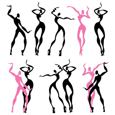 Abstract dancing figures. Vector