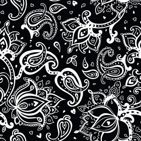 Seamless Paisley background. Hand Drawn vector pattern. Vector