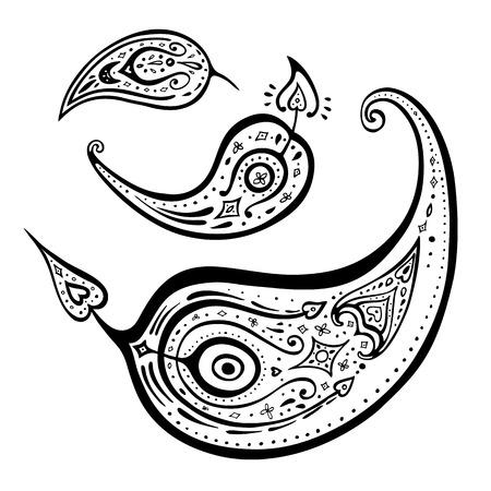 mhendi: Paisley. Ethnic ornament. Vector illustration isolated.