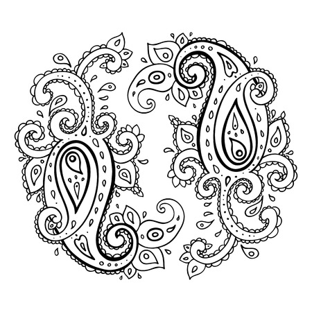 hinduismo: Paisley. Ornamento étnico. Aislado ilustración vectorial. Vectores
