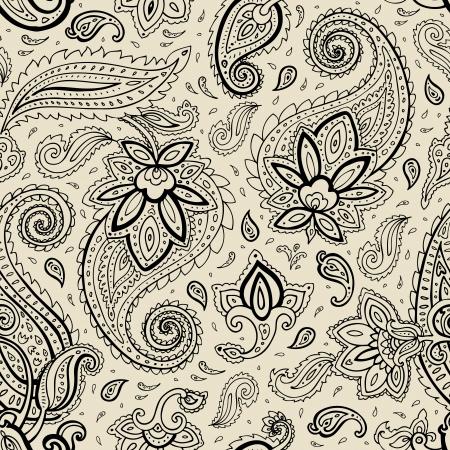 Naadloze Paisley achtergrond. Elegant kant getrokken vector patroon. Stock Illustratie