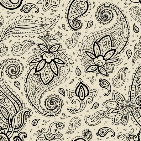 motif cachemire: Seamless Paisley. Main �l�gant dessin vectoriel.