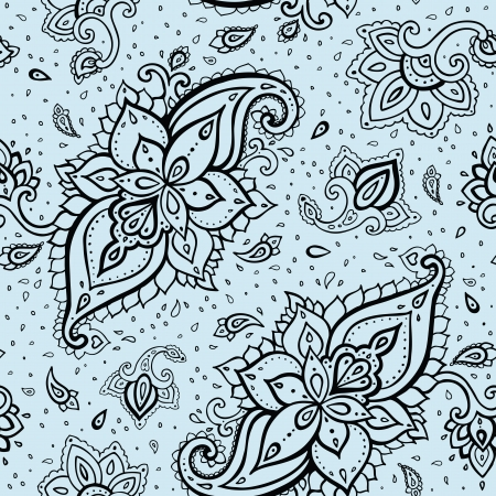 Seamless Paisley background. Hand Drawn vector pattern. Illustration