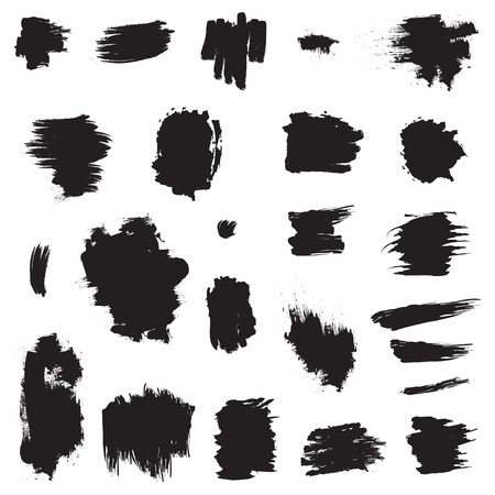 daub: Abstract Grunge hand painted brush strokes . Design set Vector isolated Illustration