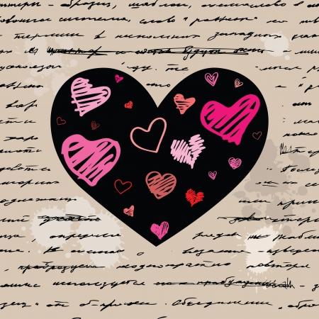 Heart design elements. Love. Handwriting vector background. Vector