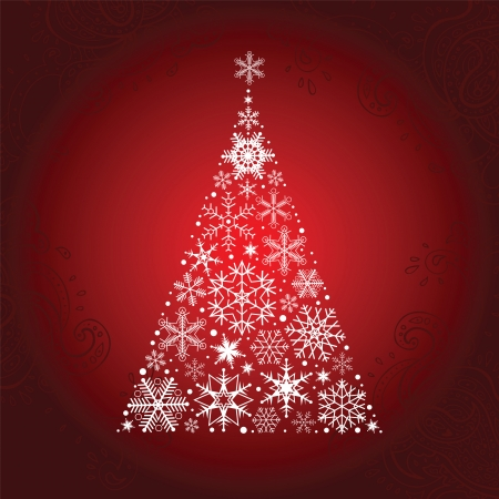 fake christmas tree: Christmas tree of snowflakes   New Year background  Vector illustration