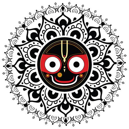 indian god: Jagannath  Indian God of the Universe  Lord Jagannatha  Illustration