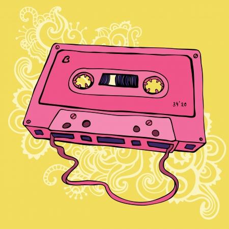 Retro Pink Audio cassette tape  Vector