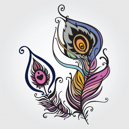 piuma di pavone: Bella piuma di pavone. illustrazione vettoriale Vettoriali