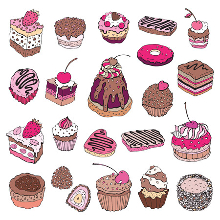 Set of cute cake. Multicolored Vector illustration Vector