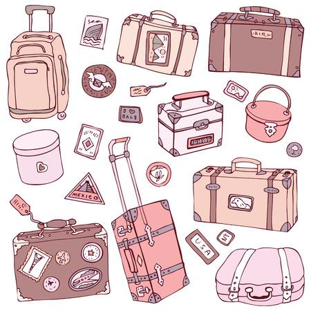 packing suitcase: Vector Collection di valigie vintage. Illustrazione Viaggi isolato.