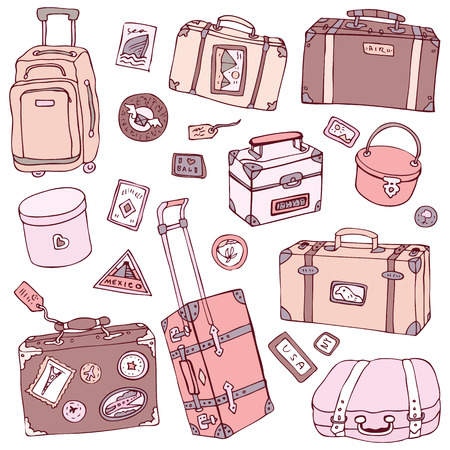 packing suitcase: Vector Collection of vintage suitcases. Travel Illustration isolated.