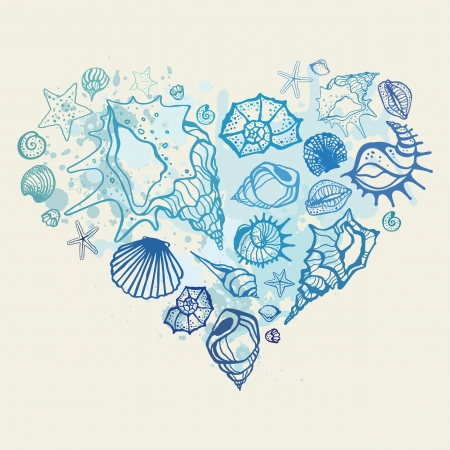 Heart of the shells  Hand drawn vector illustration Ilustração