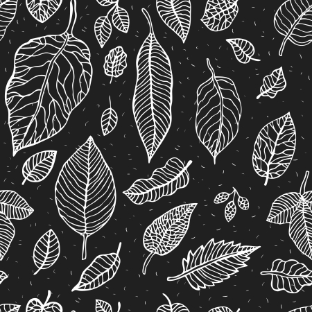 black branch: Seamless background with leaves. Abstract vector pattern. Illustration