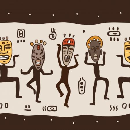 africans: Dancing figures wearing African masks Illustration