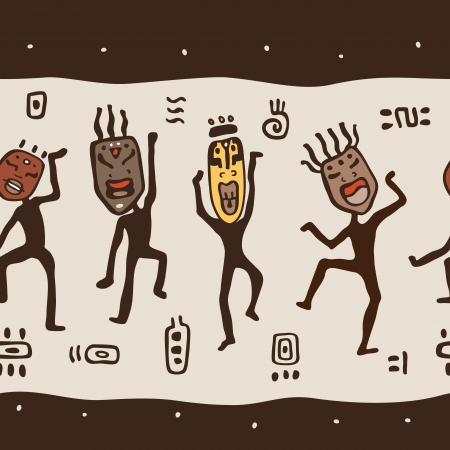 Dancing figures wearing African masks.  Primitive art. Seamless Vector Illustration.