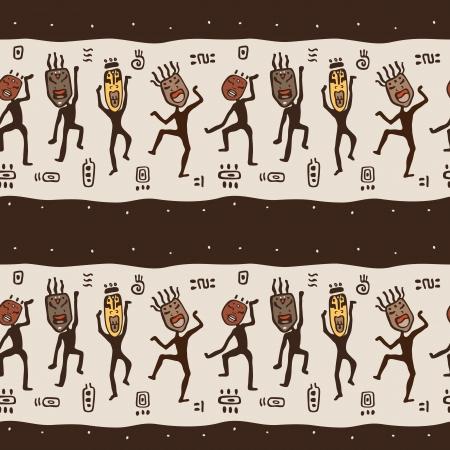 anthropology: Dancing figures wearing African masks.  Primitive art. Seamless Vector Illustration.
