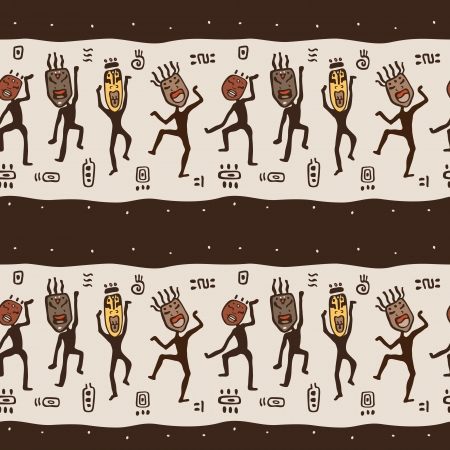 Dancing figures wearing African masks.  Primitive art. Seamless Vector Illustration. Фото со стока - 24509481