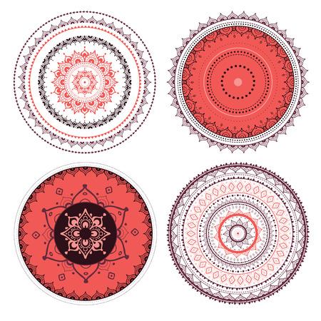 lakshmi: Mandala set. Vector Indian decorative pattern.