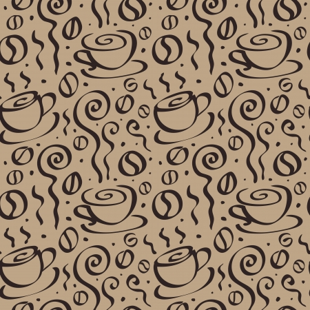 Abstract Coffee background. Seamless Vector Illustration. Ilustração