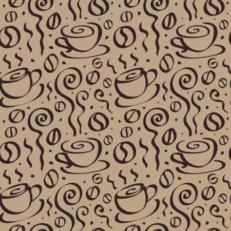 Abstracte achtergrond van de koffie. Naadloze Vector Illustratie.