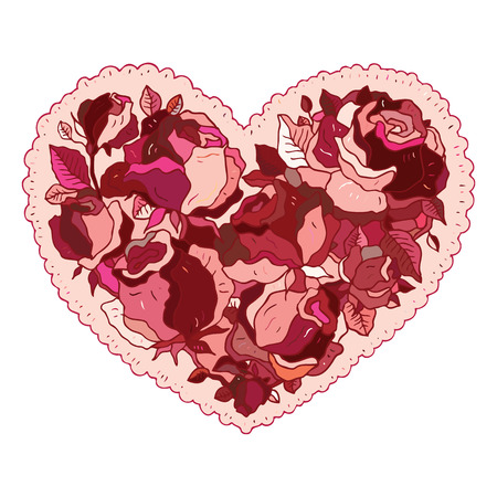 Elegance pattern Heart of flowers roses. Valentine Greeting card. Hand drawn vector illustration. Vector