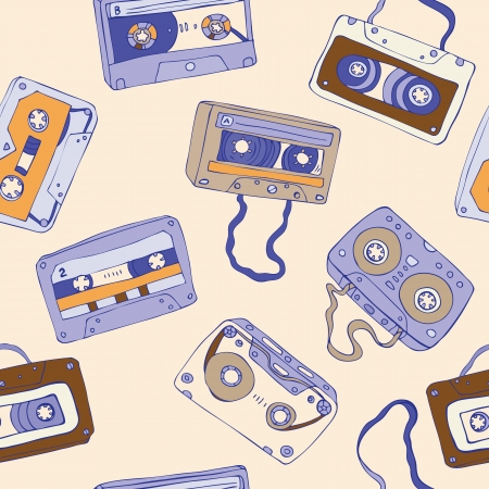Seamless pattern of cassette tapes. Vector background. Vector