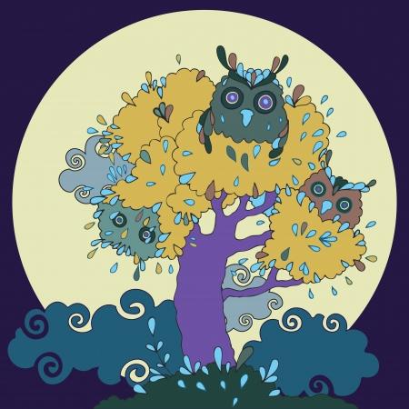 Owls in tree funny cartoon illustration. Vector