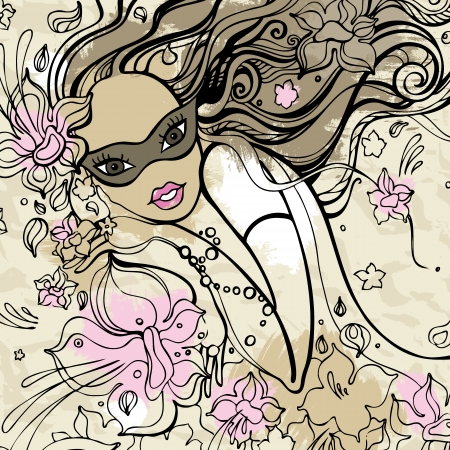 Beautiful Woman with carnival mask illustration  Vector
