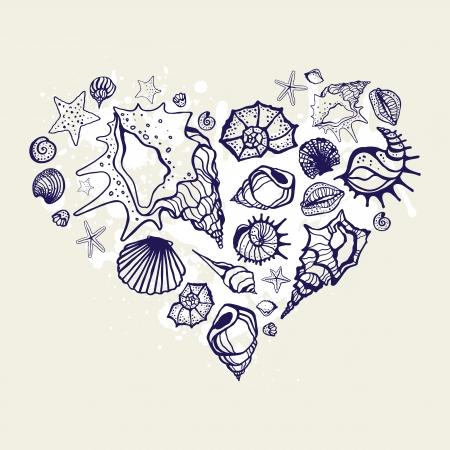 貝殻の心。手描き下ろしベクトル イラスト