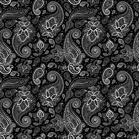 원활한 페이즐리 배경입니다. 우아한 손 벡터 패턴을 그린.