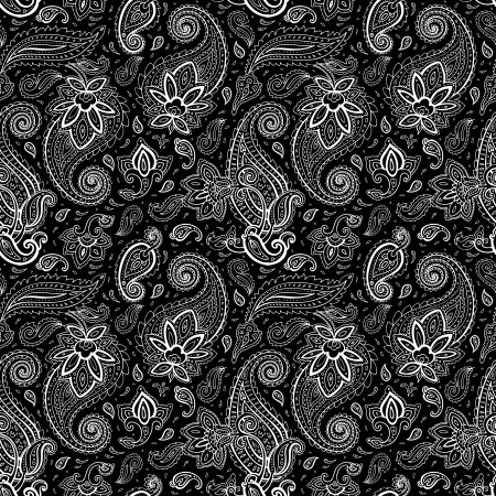 oriental: Seamless Paisley background. Elegant Hand Drawn vector pattern.