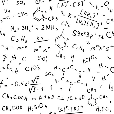 chemical reactions: Chemistry hand draw background. Seamless Vector illustration