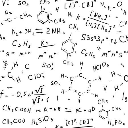 Fondo empate Química mano. Ilustración vectorial Seamless