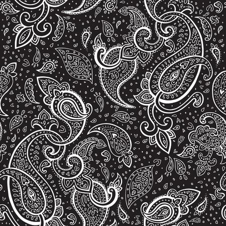 원활한 페이즐리 배경 손으로 그린 벡터 패턴