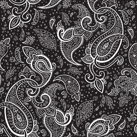 Seamless Paisley background  Hand Drawn vector pattern  Vector