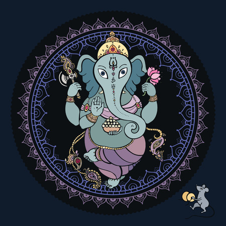 east indian: Hindu God Ganesha. Vector hand drawn illustration.