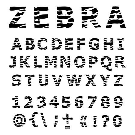 ZEBRA alphabet. Hand drawn Vector Font. Vector