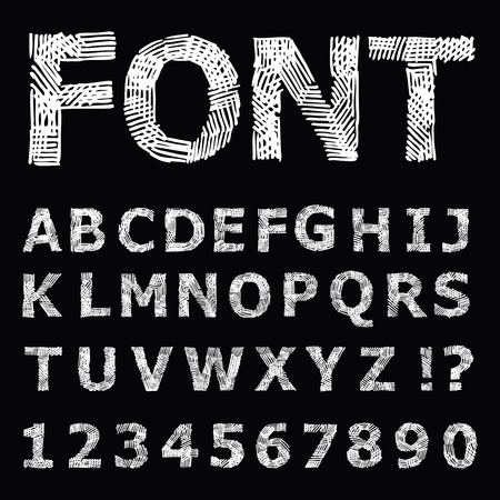 Grunge  Alphabet. Hand drawn Vector illustration. Vector