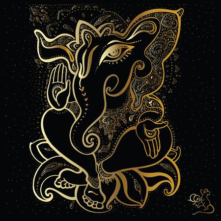 black gods: Hindu God Ganesha. Vector hand drawn illustration.